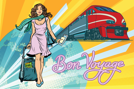 Railroad passenger train, Bon voyage. Beautiful young woman with Luggage. Pop art retro vector illustration 일러스트