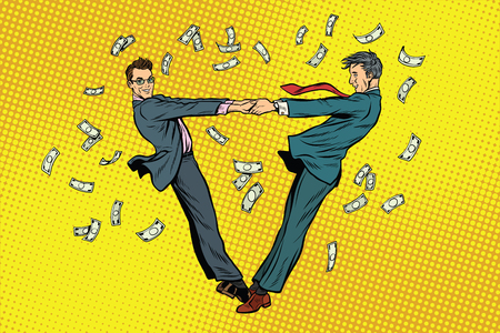 Two businessmen happily dancing in a whirlwind of money Фото со стока - 79245296