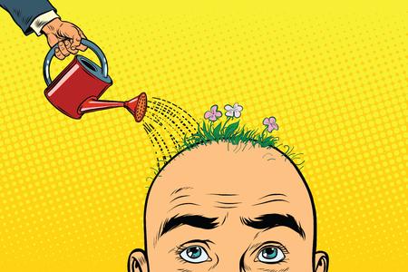 Na głowie łysego mężczyzny rosną kwiaty. Konewka wylewa wodę na klomb. Ilustracja wektorowa retro pop-artu