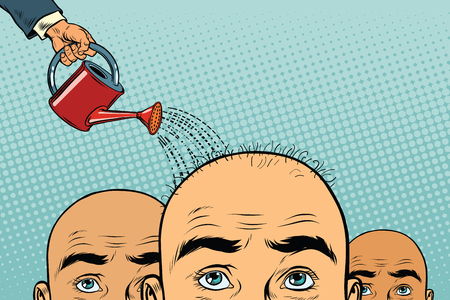 Remedio para el crecimiento del cabello. hombre calvo derramado de una regadera. Ilustración de vector retro pop art