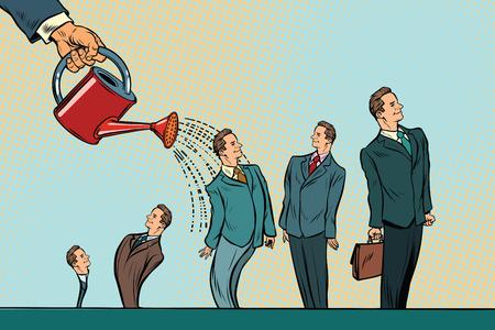 Incubateur d'entreprises, démarrage. Arrosage des hommes d'affaires d'un arrosoir. Illustration vectorielle rétro pop art Banque d'images - 79258926