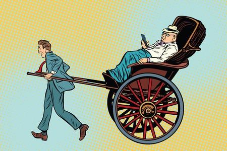 rikscha: Geschäftsmannrikscha trägt einen reichen Kunden. Taxi und Luxusdienste. Pop-Art Retro-Vektor-Illustration