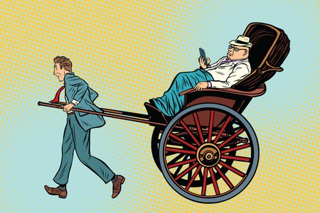 Businessman rickshaw carries a wealthy client. Taxi and luxury services. Pop art retro vector illustration