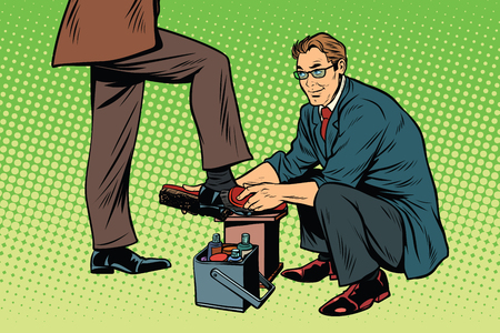 businessman Shoe Shiner. Pop art retro vector illustration