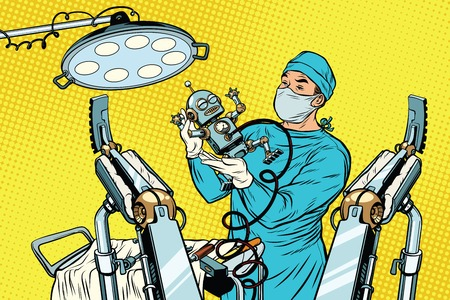 birth newborn robot, an obstetrician in the operating room. Medicine and health care. Illustration