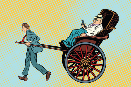 exclusive: Businessman rickshaw carries a wealthy client. Taxi and luxury services. Pop art retro vector illustration