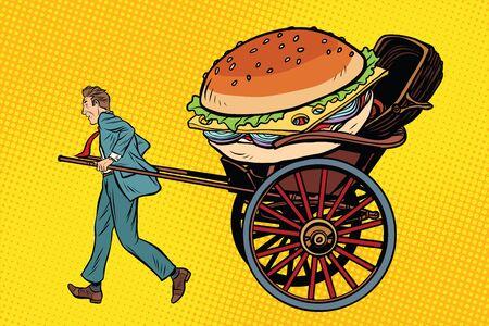 Food delivery, rickshaw and cart. Pop art retro vector illustration
