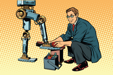 Businessman cleans shoes robot. Evolution and the technological revolution. Pop art retro vector illustration