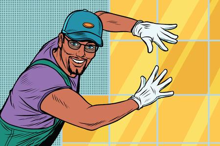 worker Builder puts tile  イラスト・ベクター素材