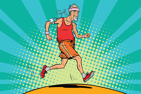 The old man runner, healthy lifestyle Vectores