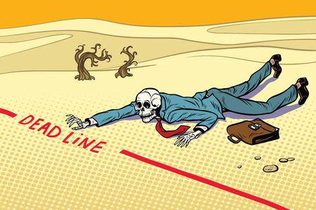Empresario muerto comprometido con la fecha límite Ilustración de vector