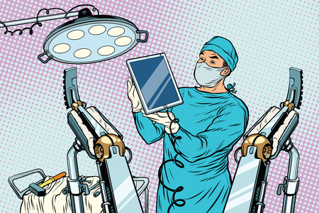 doctor tablet: Obstetrician delivered a baby robot computer tablet