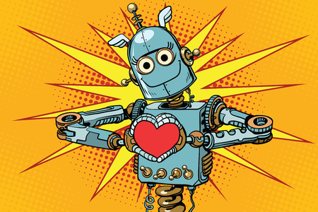 Robot lover with a red heart, symbol of love Stock Illustratie