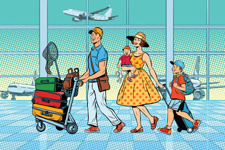 Family travelers at the airport Banco de Imagens - 79671709