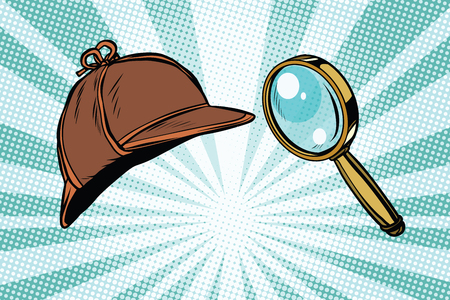Detective hat and magnifying glass Stock Illustratie