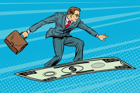Businessman on flying money carpet plane Illustration