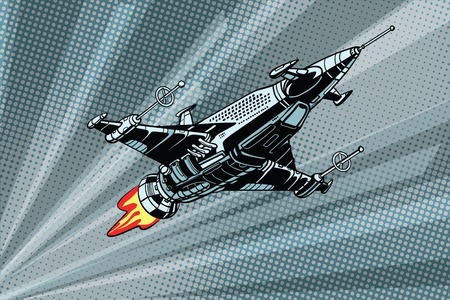 Futuristic outer space battle starship