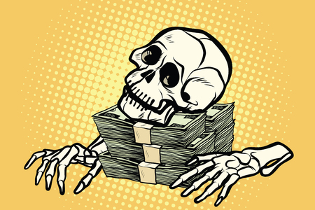 skeleton skull dollar money, wealth and greed 矢量图像