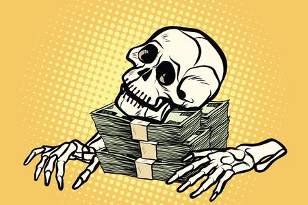 skeleton skull dollar money, wealth and greed Illustration