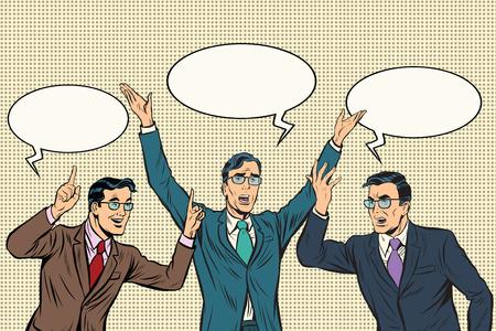 Tre altoparlanti, gesti uomini d'affari