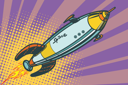 Retro space ship flies up Ilustracja