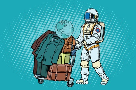spacesuit: Astronaut traveler with baggage cart Illustration