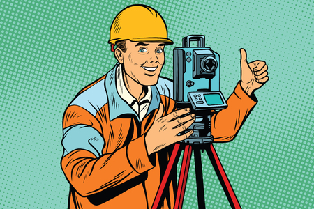 Builder surveyor with a theodolite optical instrument for measur