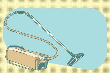 retro vacuum cleaner vintage illustration 向量圖像