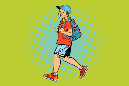 Boy student with a backpack goes to school or Hiking Illustration