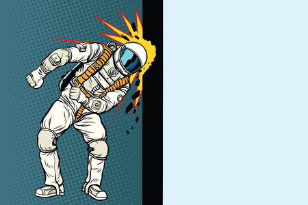 Cosmonaut knocks head on the wall. Dream of mankind Illustration