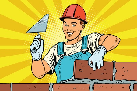 Builder brickwork Construction and repair Vettoriali