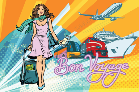 Mooi van de de toeristenbus van de vrouwenpassagier de cruiseschip en vliegtuig. Pop art retro vectorillustratie Stock Illustratie