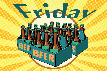Friday and a lot of beer. Pop art retro vector illustration