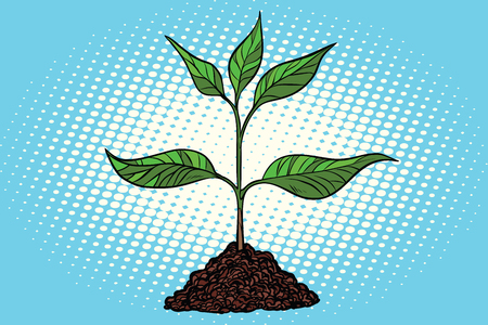 Green sprout in the ground icon for Ecology, environmental protection, and Earth day in Pop art retro vector illustration