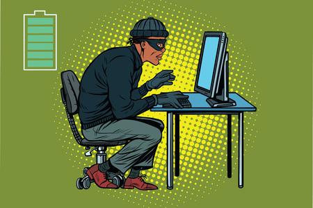 retro computer: African hacker thief hacking into a computer. Pop art retro vector illustration
