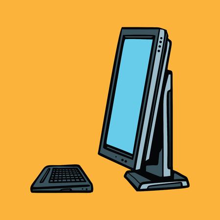 retro computer: computer monitor and keyboard. Pop art retro vector illustration