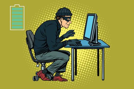 office theft: Caucasian hacker thief hacking into a computer. Pop art retro vector illustration