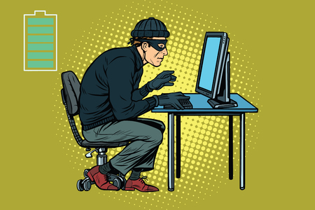 Caucasian hacker thief hacking into a computer. Pop art retro vector illustration