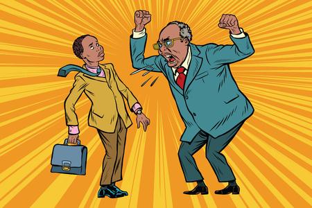 El jefe regaña al hombre de negocios. Afroamericanos. Conflictos en el trabajo. Pop art retro ilustración vectorial