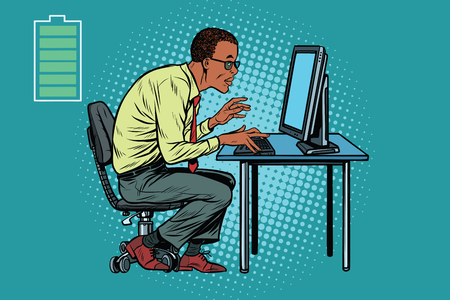 Energy for work, office businessman at computer. African American people. Pop art retro vector illustration