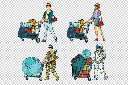 Set travelers man woman soldier and astronaut. Pop art retro vector illustration Illustration