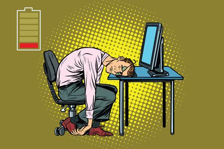 コンピューターで眠っているビジネスマン。仕事で疲労します。ポップアートのレトロなベクトル図