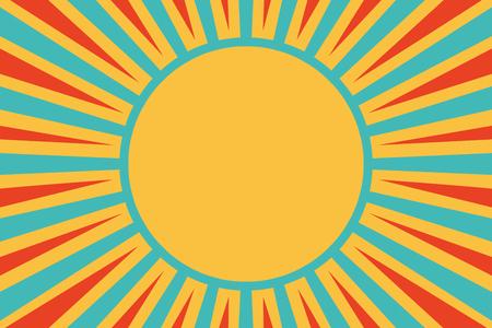 태양 빨간색 노란색 파란색 배경입니다. 팝 아트 복고풍 벡터 일러스트 레이션 일러스트