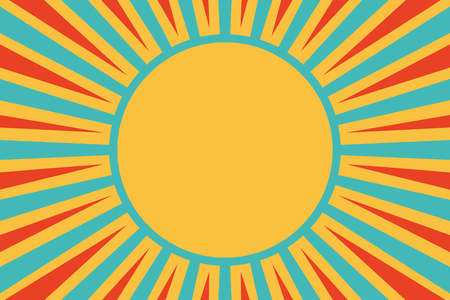 Sun red yellow blue background. Pop art retro vector illustration