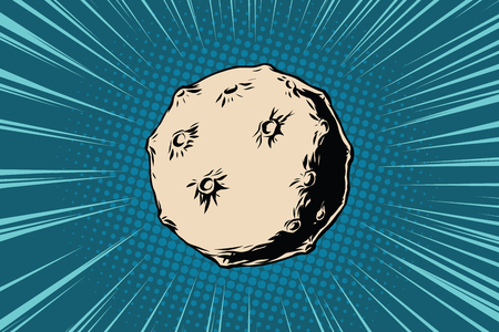 Asteroid with craters in space. Pop art retro vector illustration Illustration