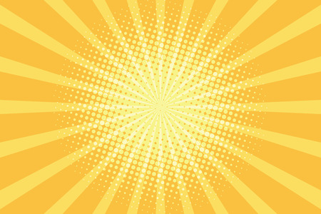 yellow rays pop art background. retro vector illustration Stock Illustratie