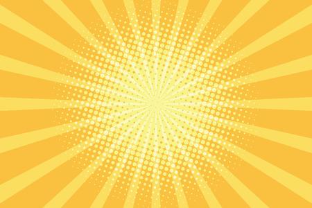 yellow rays pop art background. retro vector illustration Vettoriali