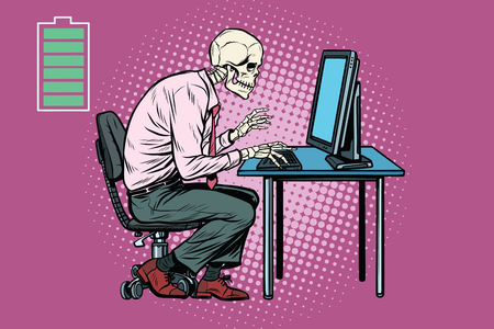 Skeleton worker working on computer. Energy for work. Pop art retro vector illustration