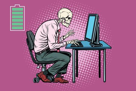 retro computer: Skeleton worker working on computer. Energy for work. Pop art retro vector illustration