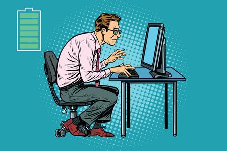 작업, 사무실에 대 한 에너지 컴퓨터에서 백인 사업가입니다. 팝 아트 복고풍 벡터 일러스트 레이션